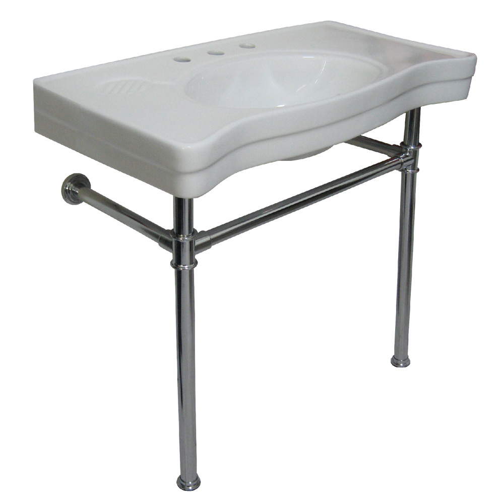 Vitreous Basin with Stainless Steel Pedestal