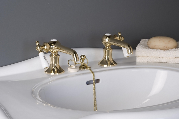 Antique Reproduction Lavatory Faucet Set, Porcelain Side