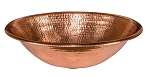 17 inch Oval Self Rimming Hammered Copper Bathroom Sink in Polished Copper