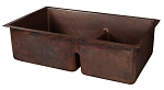 33 inch Hammered Copper Kitchen 60/40 Double Basin Sink with Short 5 inch Divider