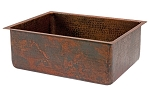 25 inch Copper Hammered Kitchen Single Basin Sink