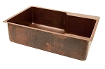 33 inch Copper Kitchen Single Basin Sink with Space For Faucet
