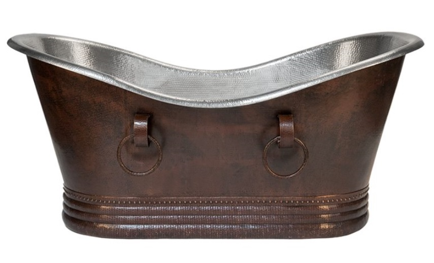 67 inch Hammered Copper Double Slipper Bathtub With Rings – Nickel Interior and Oil Rubbed Bronze Exterior