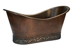 67 inch Hammered Copper Double Slipper Bathtub with Scroll Base and Nickel Inlay