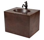 24 inch Hand Hammered Copper Wall Mount Vanity and Faucet Package/Combo