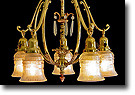 Original Drop Chandelier, Brass with Copper and Teardrop Accents - 5 Light