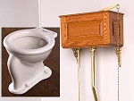 Solid Wood Raised Panel High Tank Toilet with Porcelain Bowl