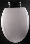 Elongated Toilet Seat, White Painted Wood