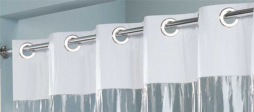 Hookless 71 inch x 74 inch White Vision Shower Curtain with Clear