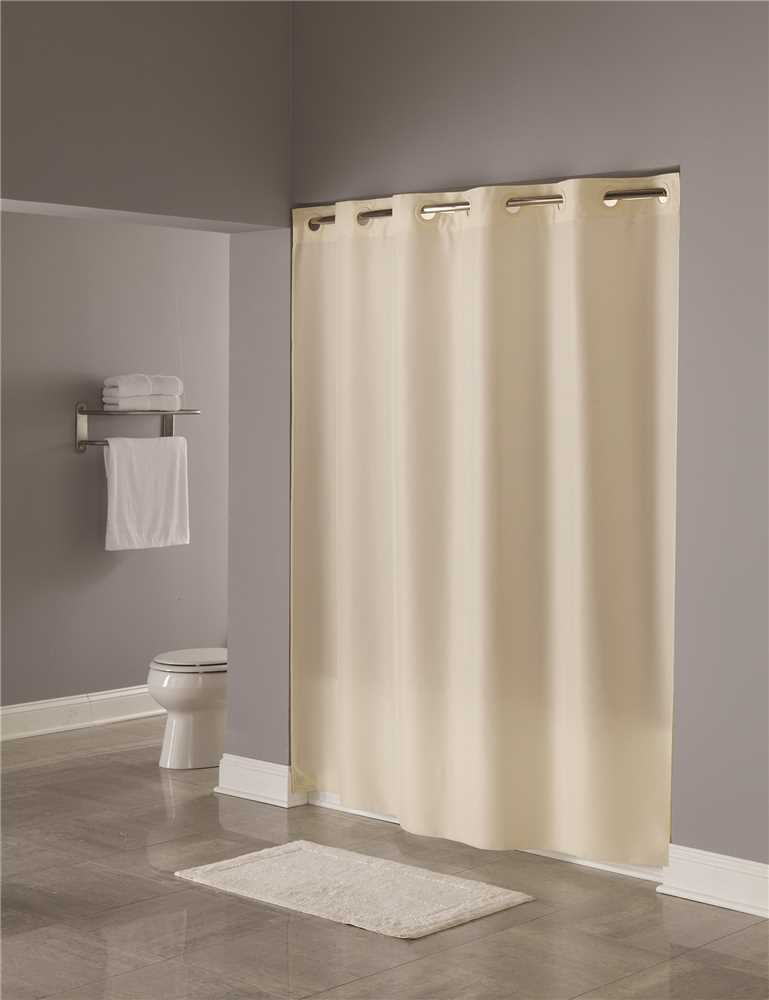 Hookless 71 inch x 74 inch Beige Plain Weave Polyester Shower Curtain