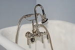 Gooseneck Leg Tub Faucet with Brass Teardrop Handles and  Handheld Shower