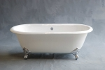 Mendocino 5-foot Cast Iron Dual Clawfoot Leg Tub, Non-Drilled