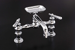 Madeira Deck Mount Kitchen Faucet w/ 6 inch Straight Spout, Soapdish and Lever Handles