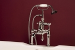 Thermostatic Deck Mount Faucet with Straight Spout and Handheld Shower Unit