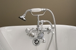 Mississippi British Telephone Leg Tub Faucet with Handheld Shower and Deco Cross Handles