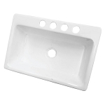 33-inch White Single Bowl Undermount Kitchen Sink