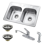 Stainless Steel Undermount Double Bowl Kitchen Sink with Faucet, Drains, Handheld Spray Combo