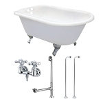 54-Inch Traditional Cast Iron Clawfoot Tub with Faucet Drain and Supply Lines Combo