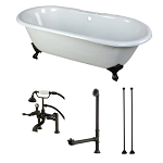 66-Inch Side Fill Cast Iron Clawfoot Tub with Faucet Drain and Supply Lines Combo