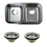 Stainless Steel Undermount Stainless Steel Double Bowl Kitchen Sink Combo with Strainers