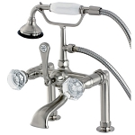 Celebrity Deck Mount Clawfoot Tub Faucet with Crystal Knob Handles
