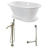 67-Inch Acrylic Pedestal Tub with Freestanding Faucet and Drain Combo