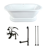 67-Inch Acrylic Pedestal Tub with Faucet Drain and Supply Lines Combo