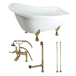 67-Inch Acrylic Slipper Clawfoot Tub with Faucet Drain and Supply Lines Combo