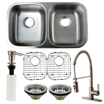 Undermount Double Bowl Kitchen Sink with Faucet, Drains, Grids and Soap Dispenser Combo