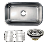 30-inch Stainless Steel Undermount Single Bowl Kitchen Sink Combo With Strainer & Grid
