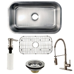 30-inch Undermount Single Bowl Kitchen Sink with Faucet, Drain, Grid, Soap Dispenser Combo