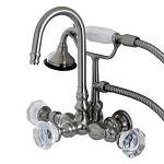 Celebrity Wall Mount Clawfoot Tub Faucet with Beautiful Crystal Knob Handles and Hand Shower