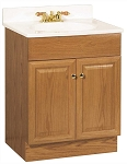 Oak Bathroom Vanity Cabinet with Two Doors and Top in Oak Wood