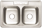 Stainless-Steel 3-Hole Double Bowl Kiten Sink (22-Gauge)