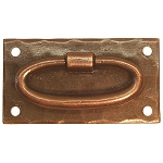 Mission Style Forged Brass Oval Ring Drawer Pull