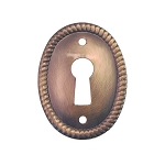 Keyhole Cover Plate Escutcheon, Vertical Roped Oval