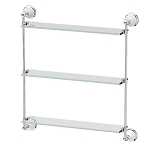 Three Tier Porcelain and Chrome Glass Shelf