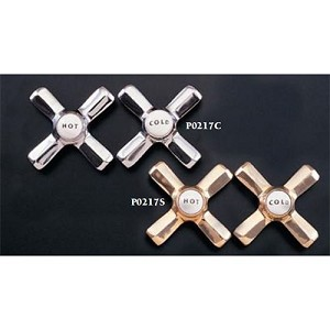 Deco Style Cross Handles with Porcelain Buttons