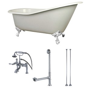 62-inch Cast Iron Clawfoot Slipper Tub with Faucet Drain and Supply Lines Combo