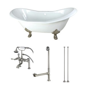 Clawfoot Tub Supply Lines.72 Inch Cast Iron Double Slipper Clawfoot Tub With Faucet Drain And Supply Lines Combo