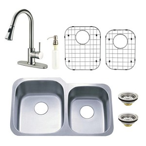 Stainless Steel Undermount Double Bowl Kitchen Sink with Faucet, Strainer, Grid and Soap Dispenser Combo