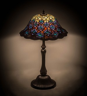 "26"" Tiffany Peacock Feather Table Lamp"