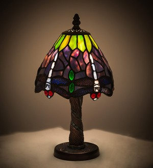 "12""H Tiffany Hanginghead Dragonfly with Mosaic Base Mini Lamp"