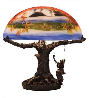 "15""H Maxfield Parrish Reveries Reverse Painted Table Lamp"