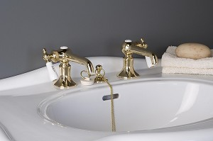 Antique Reproduction Lavatory Faucet Set, Porcelain Side Levers