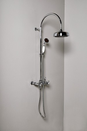 Exposed  Wall Mount Shower Set with Handheld Shower & Cross Handles