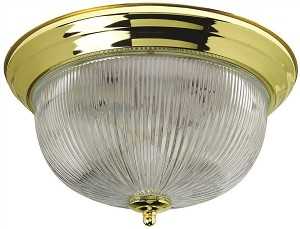 Halophane Dome Ceiling Fixture in Polished Brass