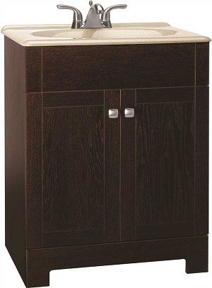 RENDITIONS COMBO BATHROOM VANITY CABINET WITH BEIGE SST TOP, JAVA, 24 INCH