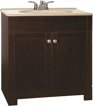 30-inch Bathrrom Vanity Cabinet Combo with Beige Top in Java Wood