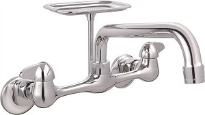 LEAD-FREE WALL-MOUNTED SINK FAUCET WITH LEVER HANDLES AND SOAP DISH